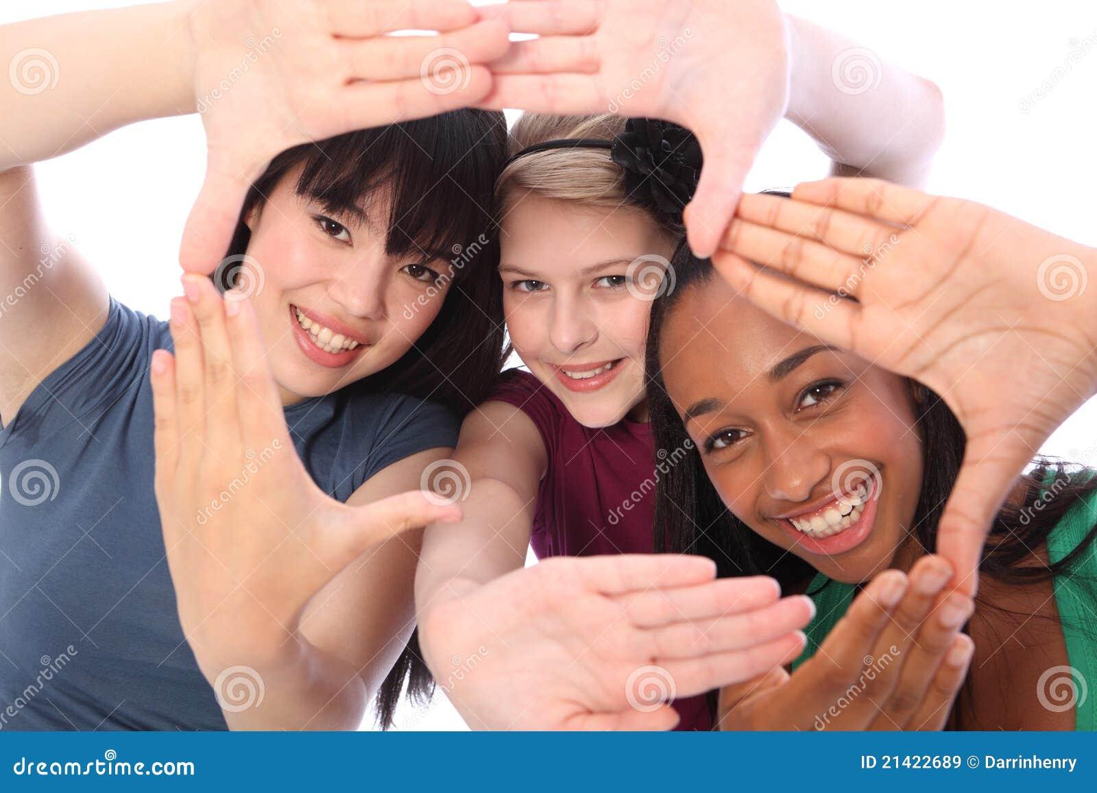 文化种族朋友乐趣女学生三