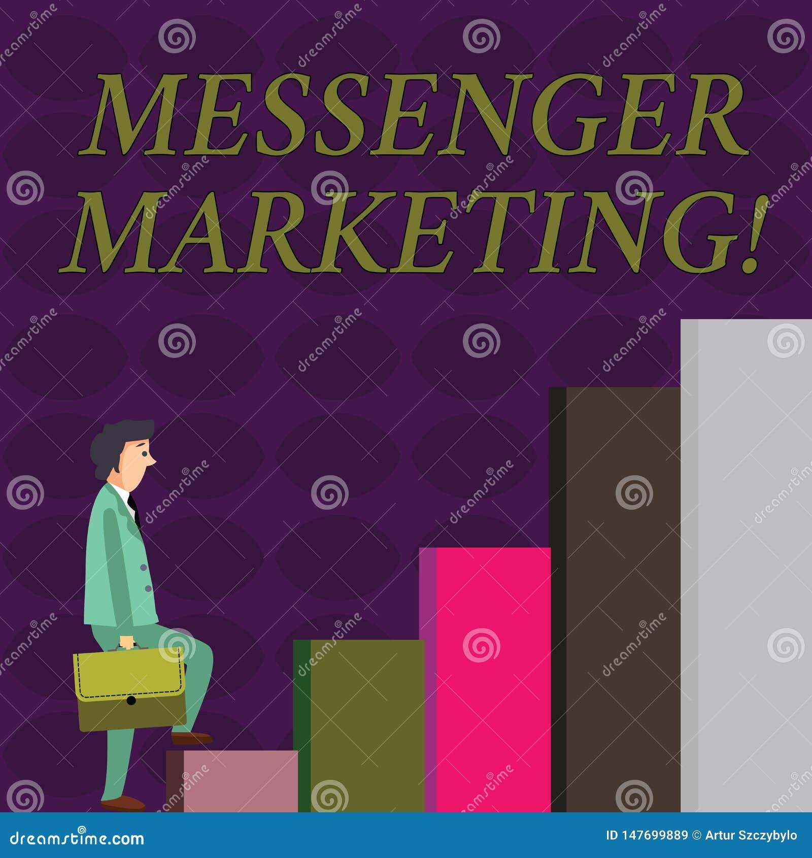 文本标志陈列信使营销 行销概念性照片行动对您的使用传讯应用程序的顾客的