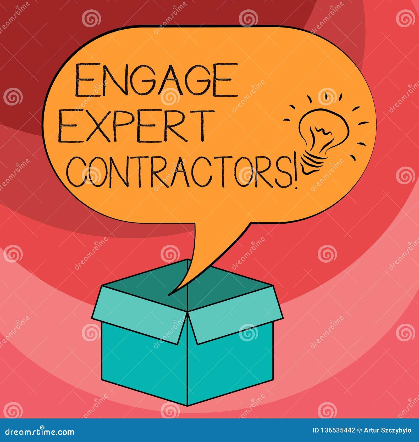 文本标志陈列允诺专家的承包商 概念性照片聘用的熟练的outworkers短时间运作想法象里面