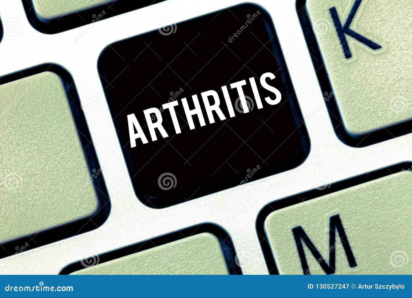 文本标志陈列关节炎 导致联接的痛苦的炎症和僵硬的概念性照片疾病