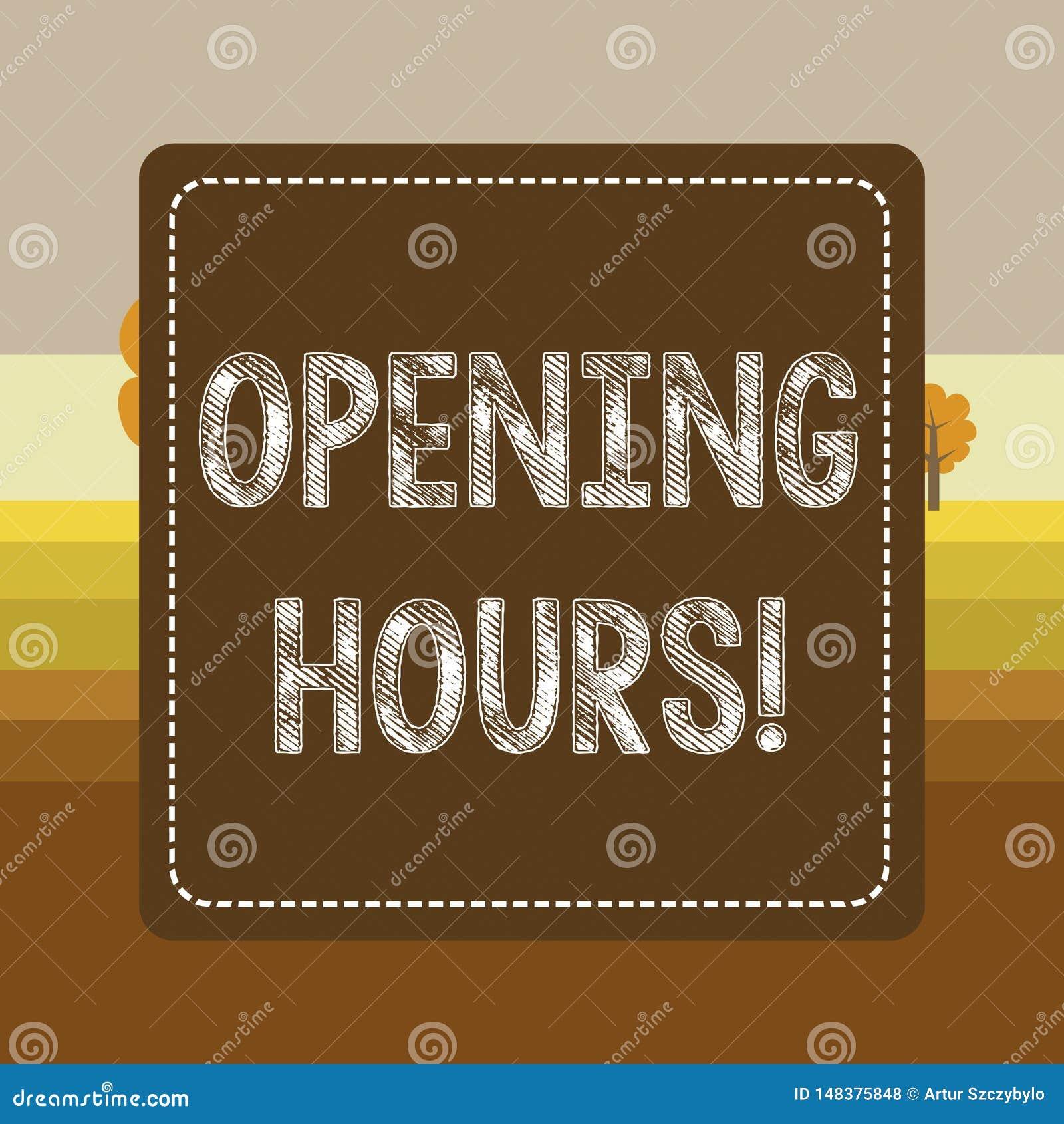 文本标志陈列开放时间 概念性照片期间事务为顾客是开放的时间在飞奔了点刻法