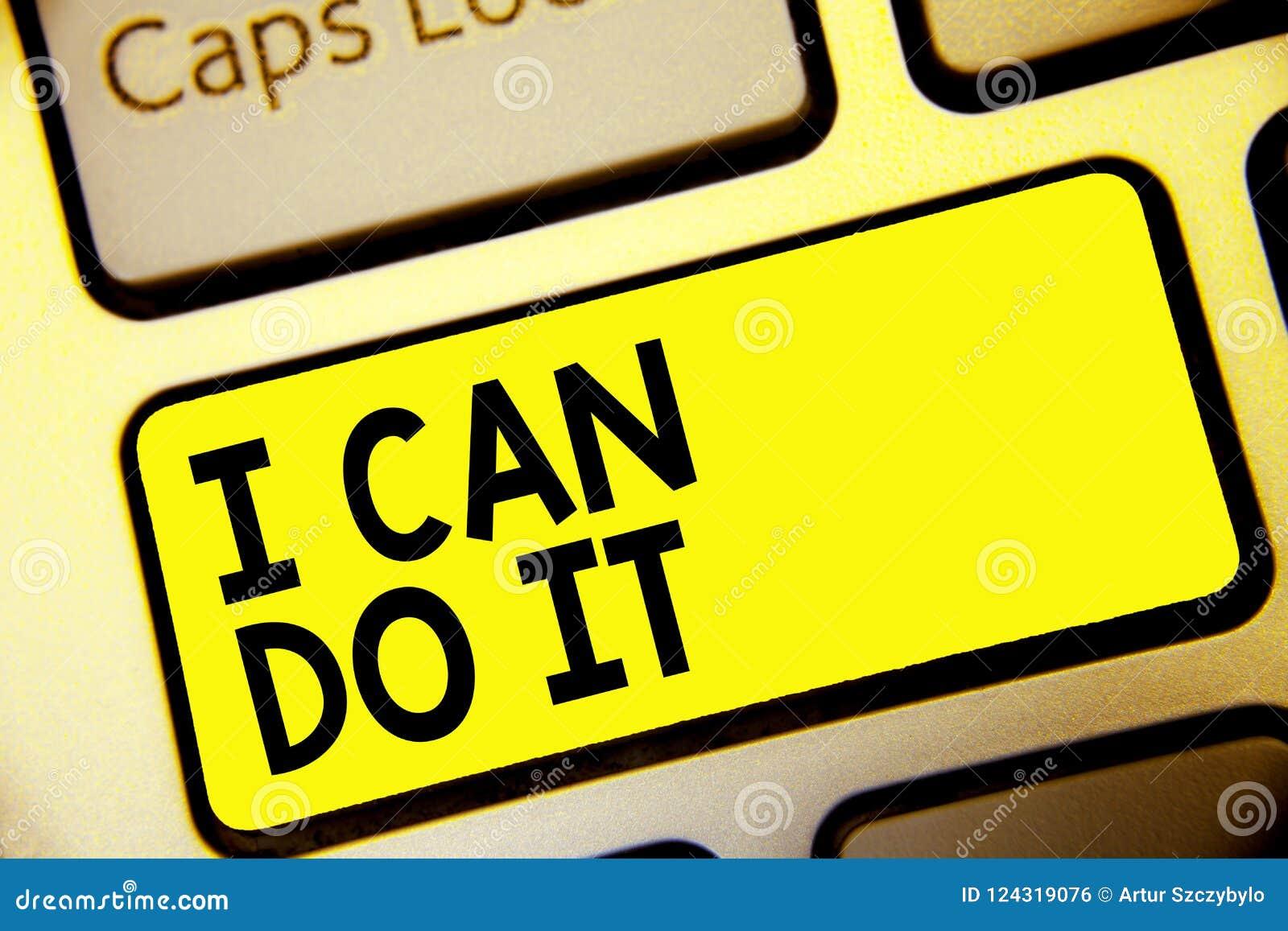 文本标志陈列我可以做它 概念性照片老化自愿接受和遇见挑战好态度键盘黄色钥匙我