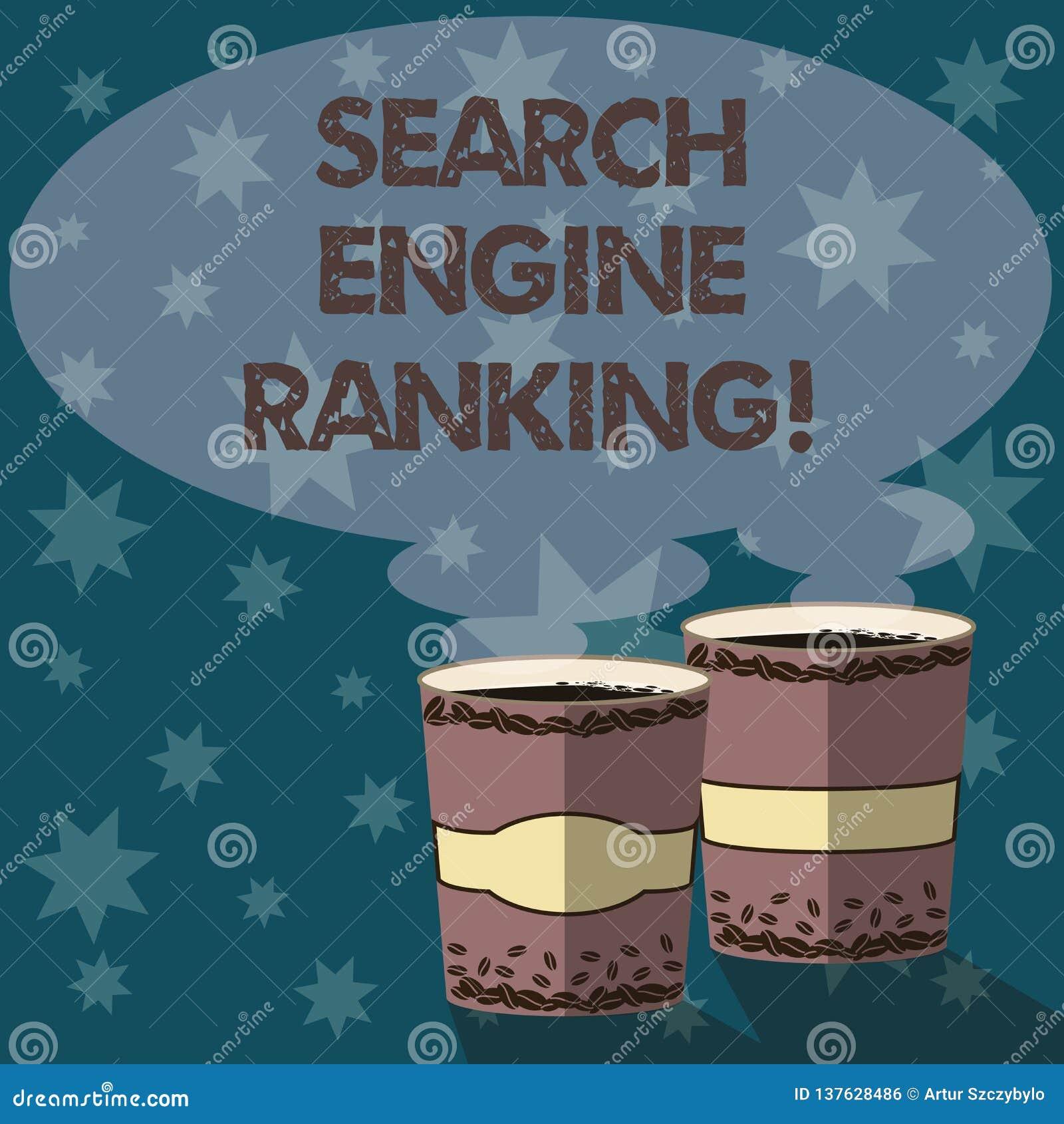 文本标志陈列搜索引擎等级 站点出现于搜索引擎询问两努力去做杯的概念性照片等级