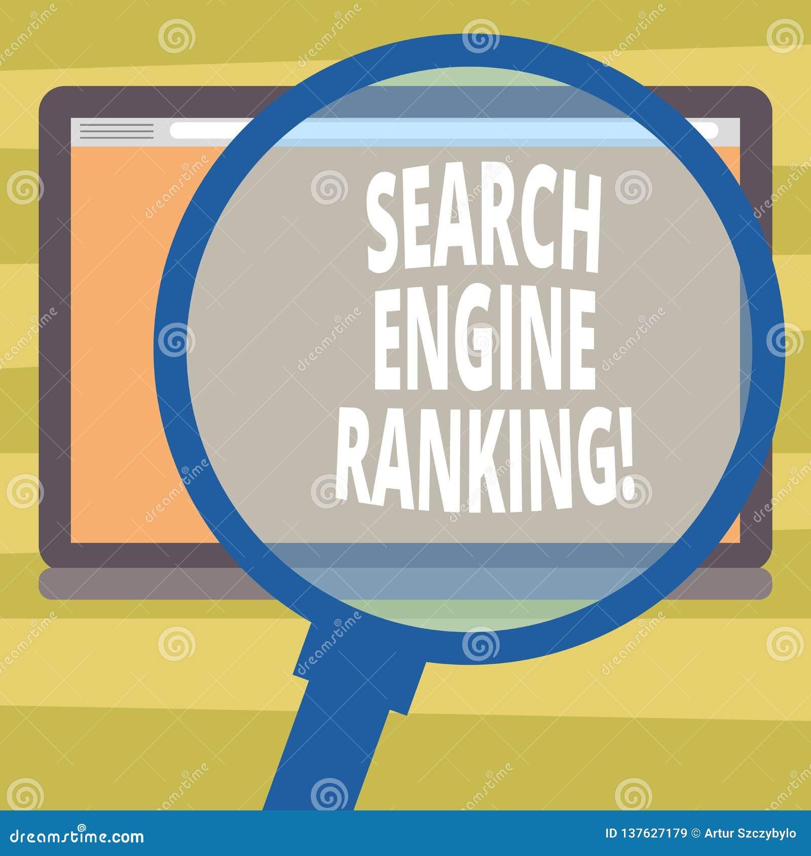 文本标志陈列搜索引擎等级 站点出现于搜索引擎询问放大镜的概念性照片等级