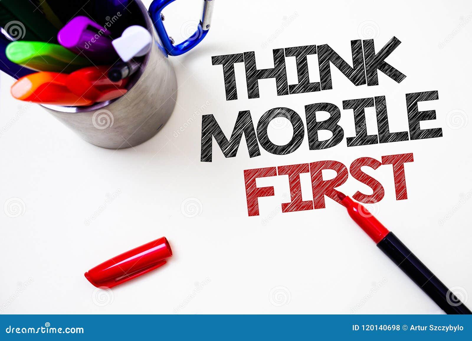 文本标志陈列首先认为销售目标便携式电话第一笔白色backgroun的机动性概念性照片手扶的构想