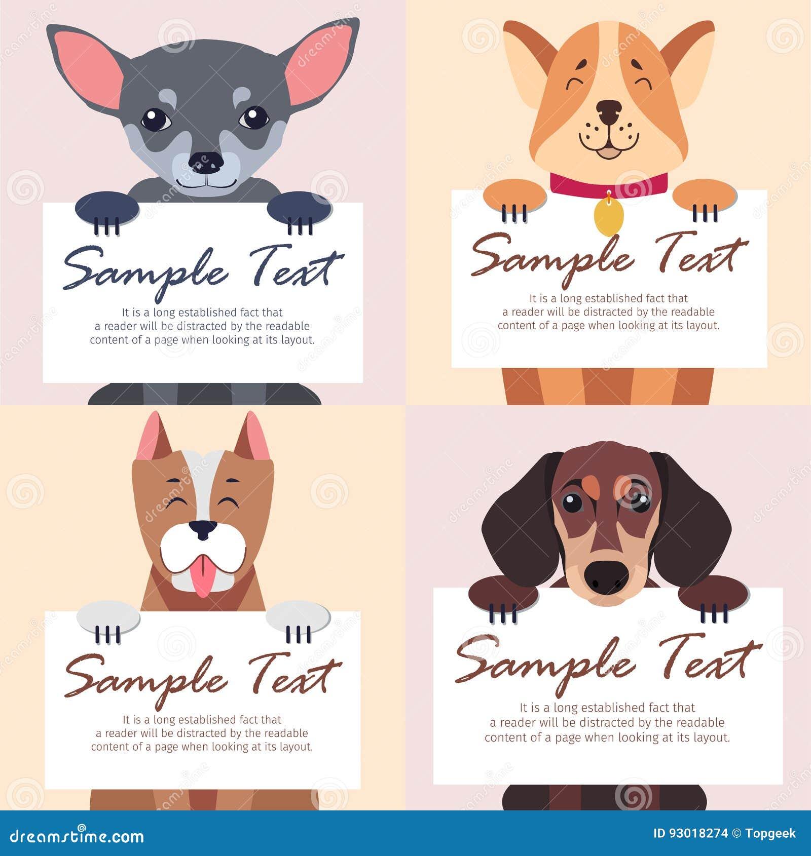 文本的四张纯血统狗举行白色卡片