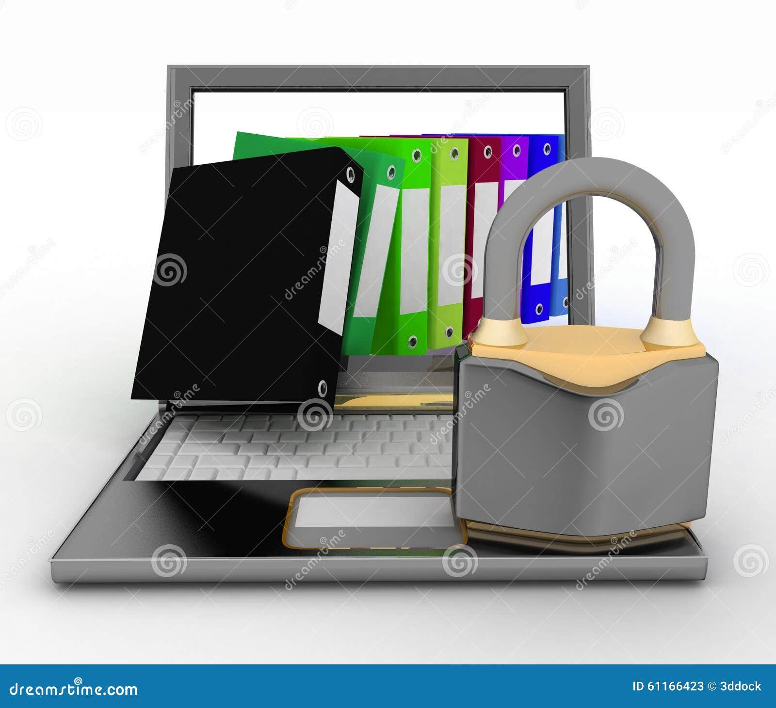 文件的安全保障 3d在一个空白背景的例证