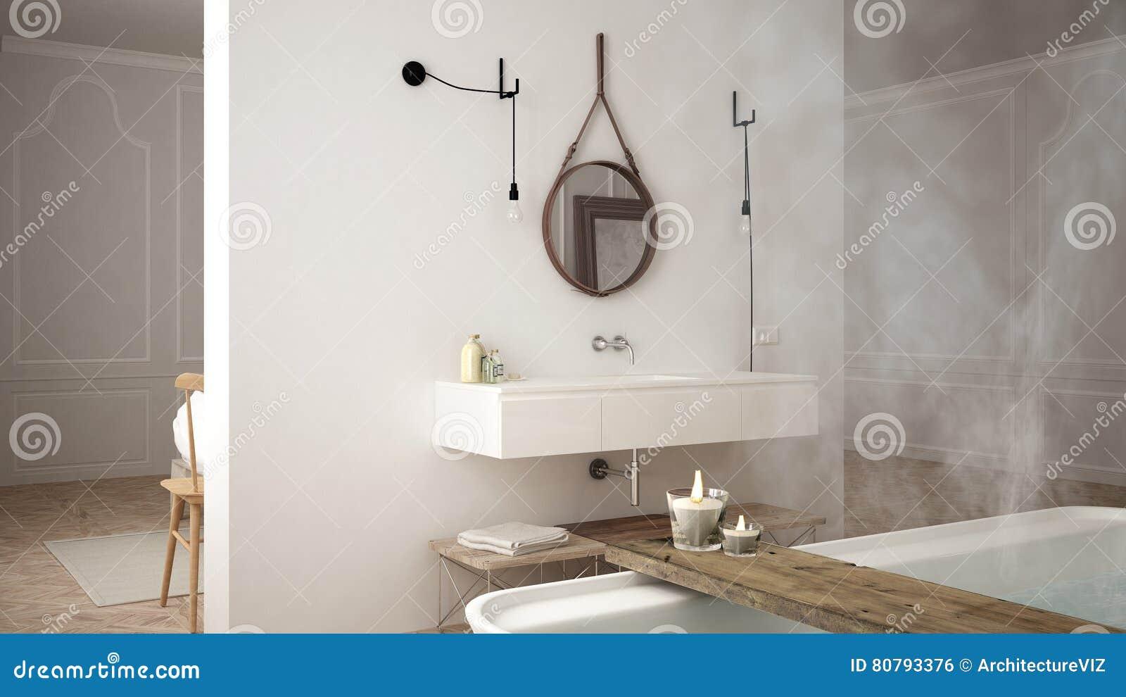 斯堪的纳维亚卫生间,白色minimalistic设计,旅馆温泉reso