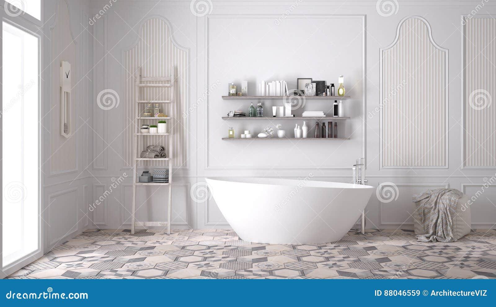 斯堪的纳维亚卫生间,经典白色葡萄酒室内设计