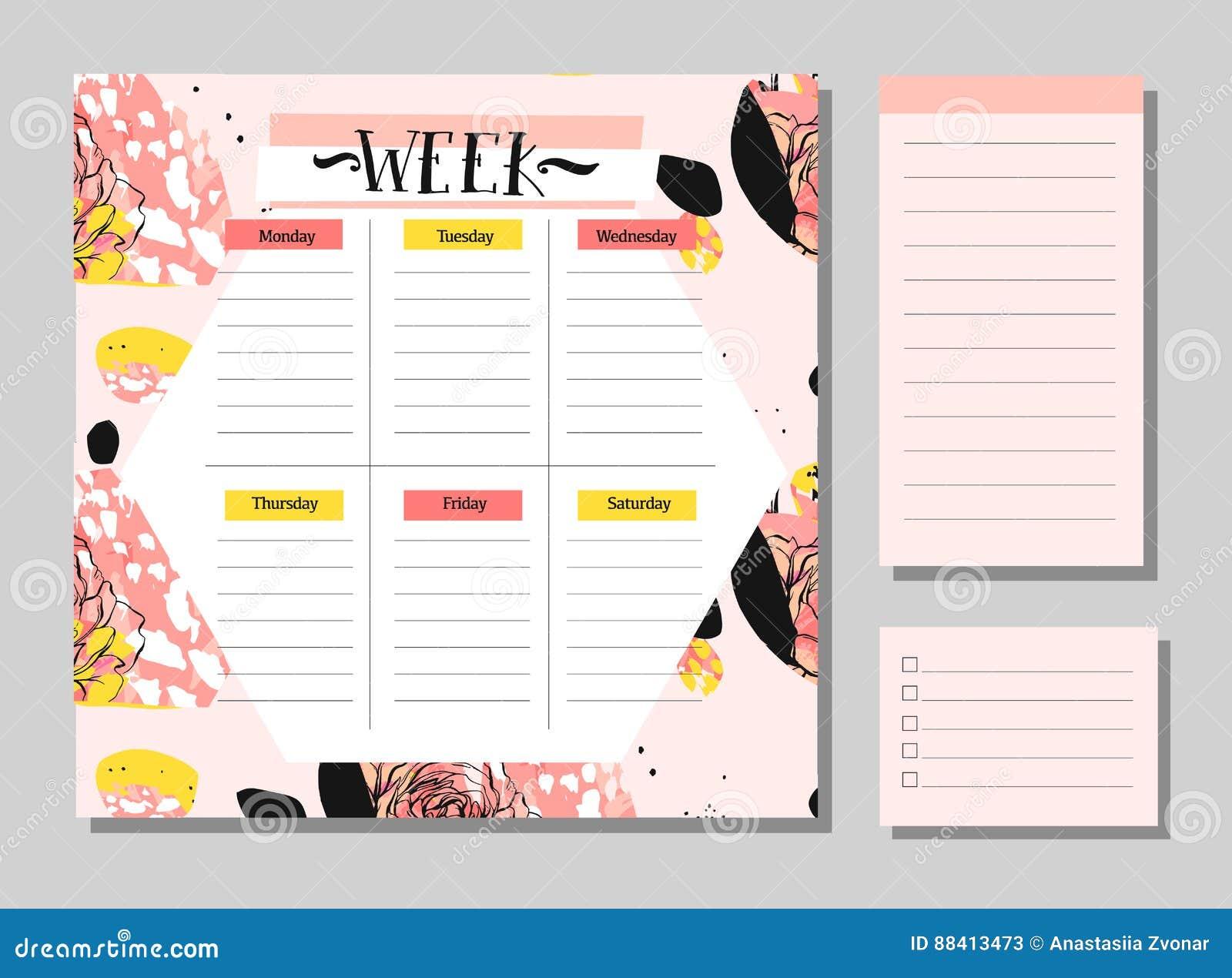 斯堪的纳维亚每周和每日计划者模板 组织者和日程表与笔记和做名单传染媒介