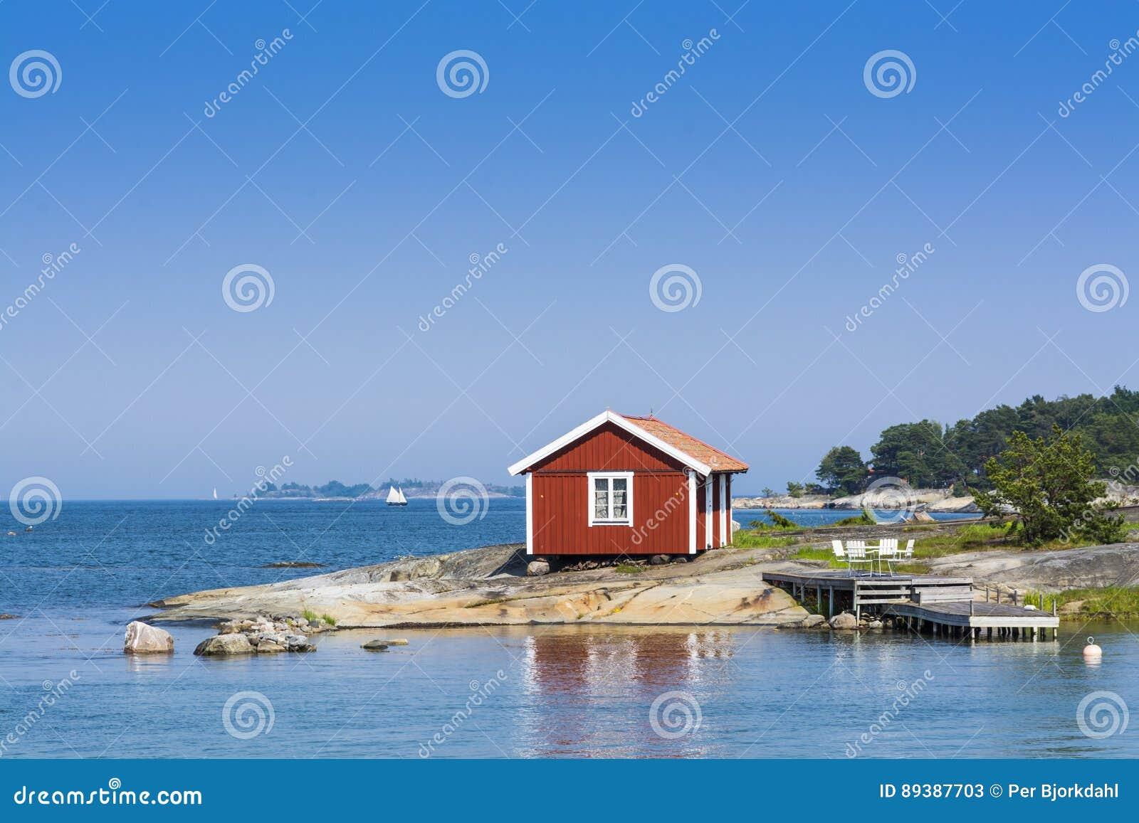 斯德哥尔摩群岛:小红色summerhouse