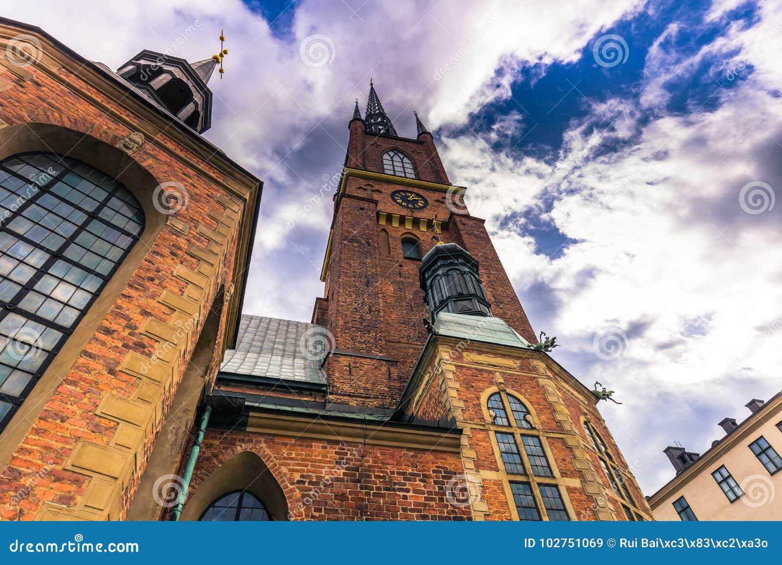 斯德哥尔摩- 2017年4月07日:Riddarholmen教会在斯德哥尔摩