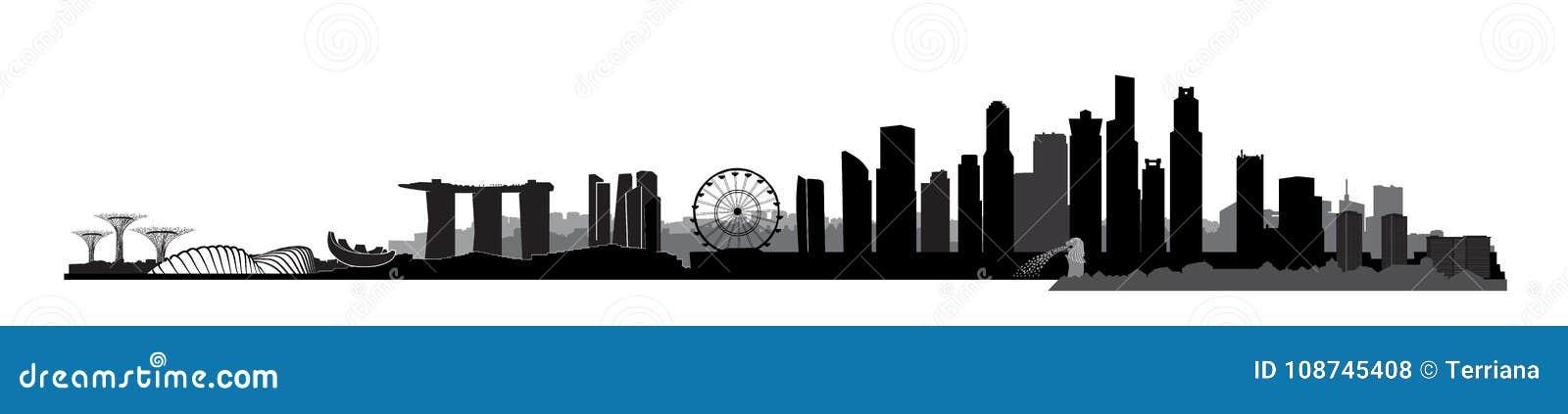 新加坡市,新加坡 与摩天大楼大厦的都市地平线