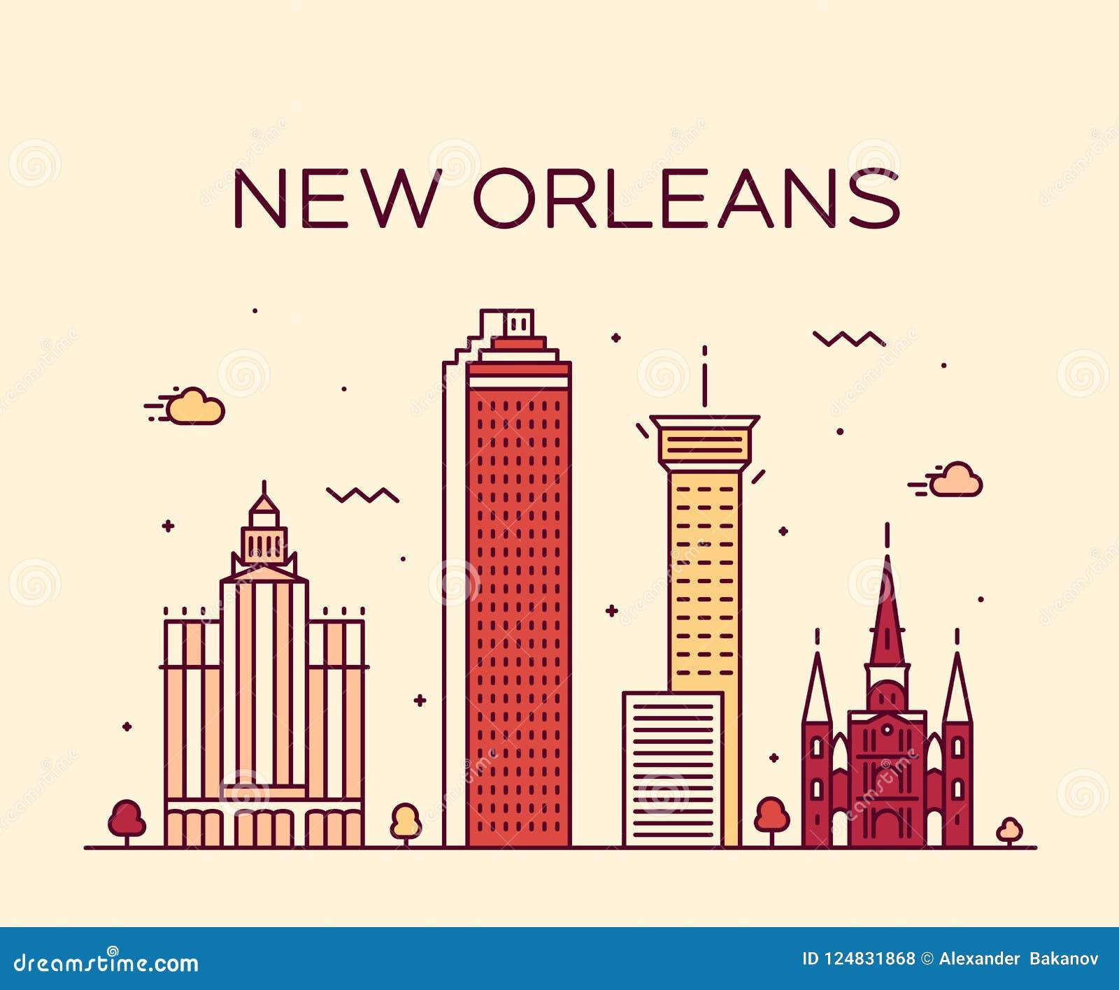 新奥尔良美国地平线传染媒介线艺术样式