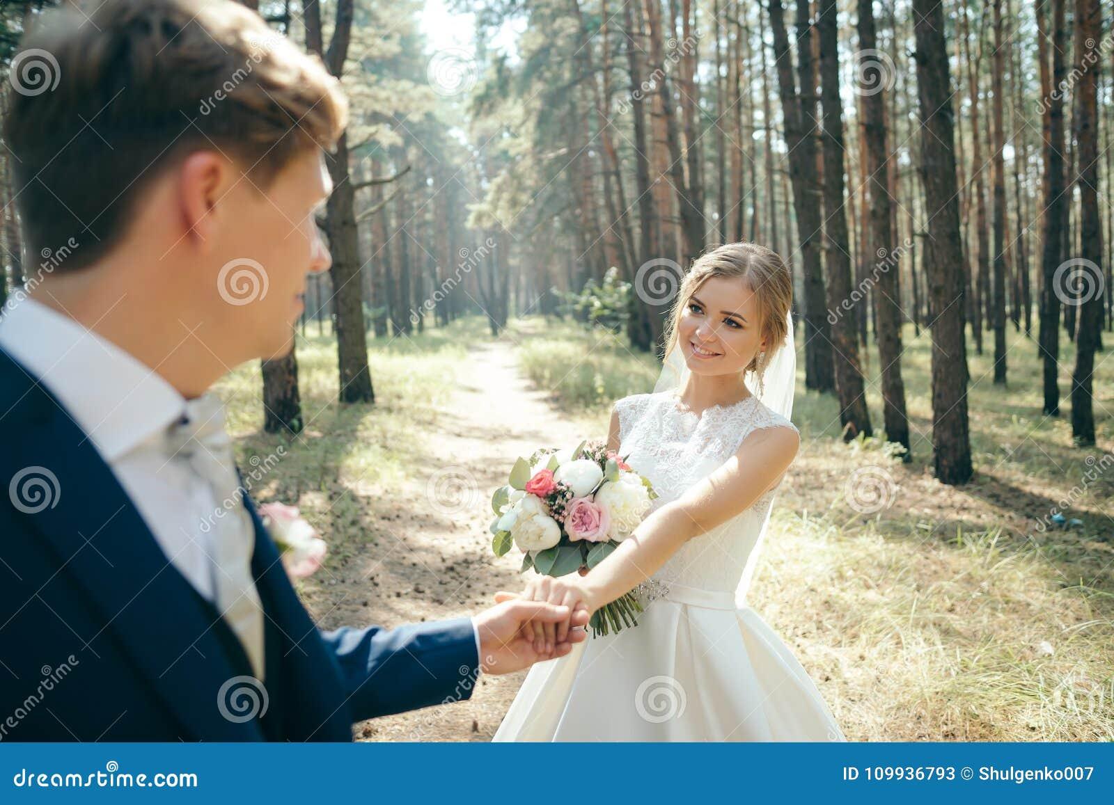 新娘和新郎在婚礼礼服在自然本底 衣物夫妇日愉快的葡萄酒婚礼 新婚佳偶通过森林走