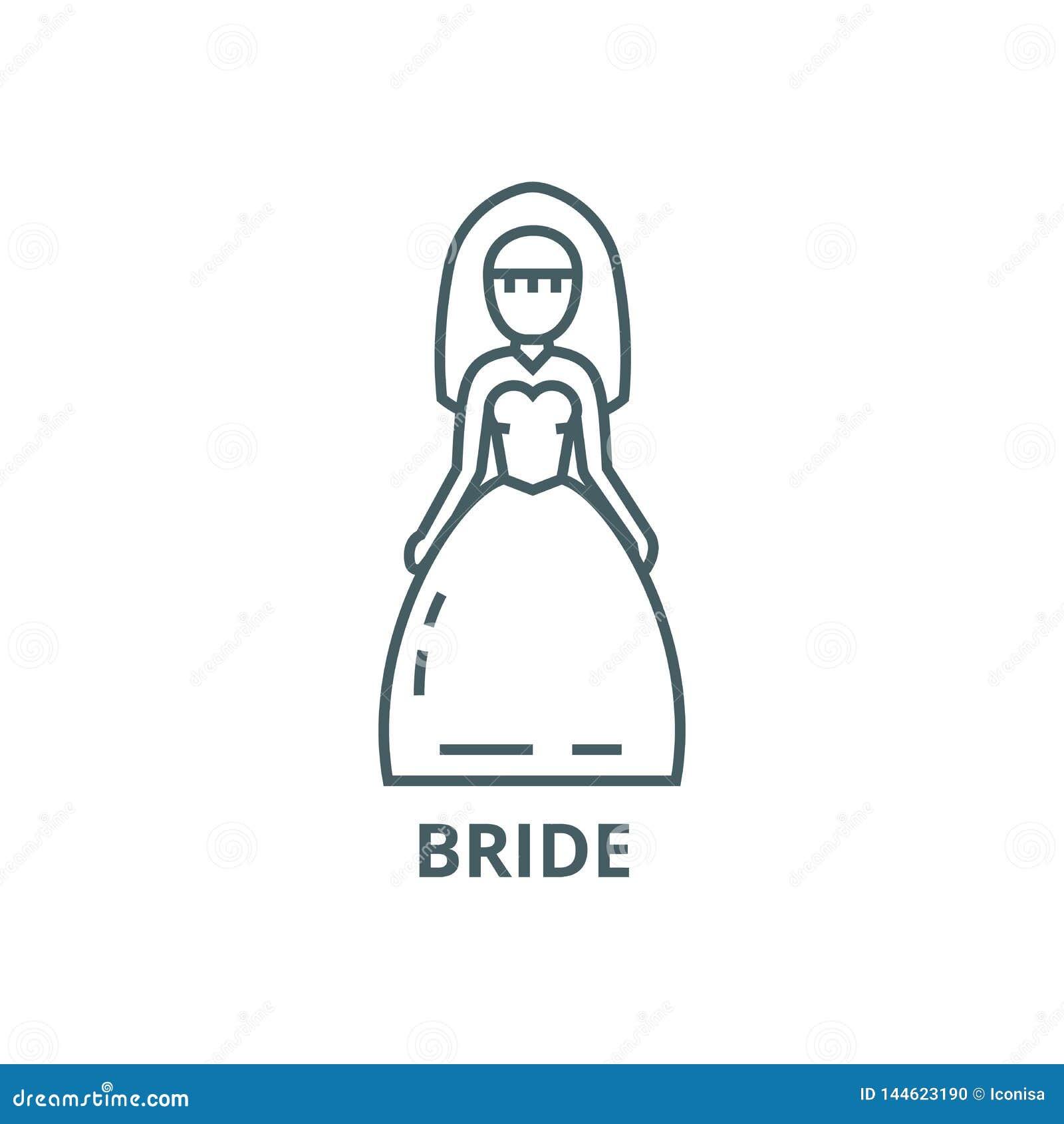 新娘标志线象,传染媒介 新娘标志概述标志,概念标志,平的例证