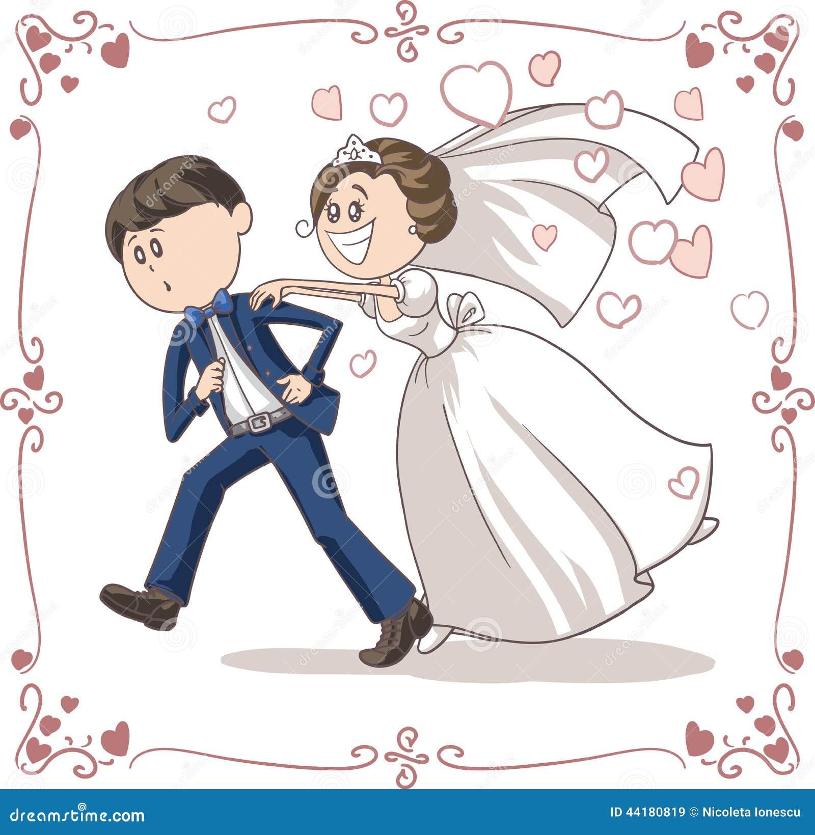 新娘滑稽的传染媒介动画片追逐的连续新郎