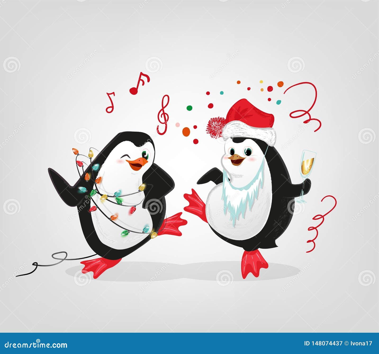 新年庆祝企鹅集会字符