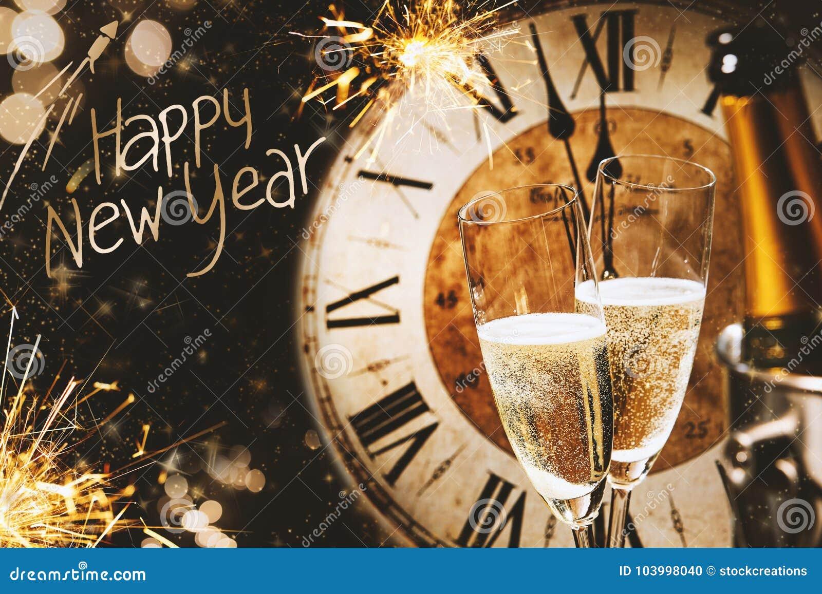 新年快乐贺卡用香槟