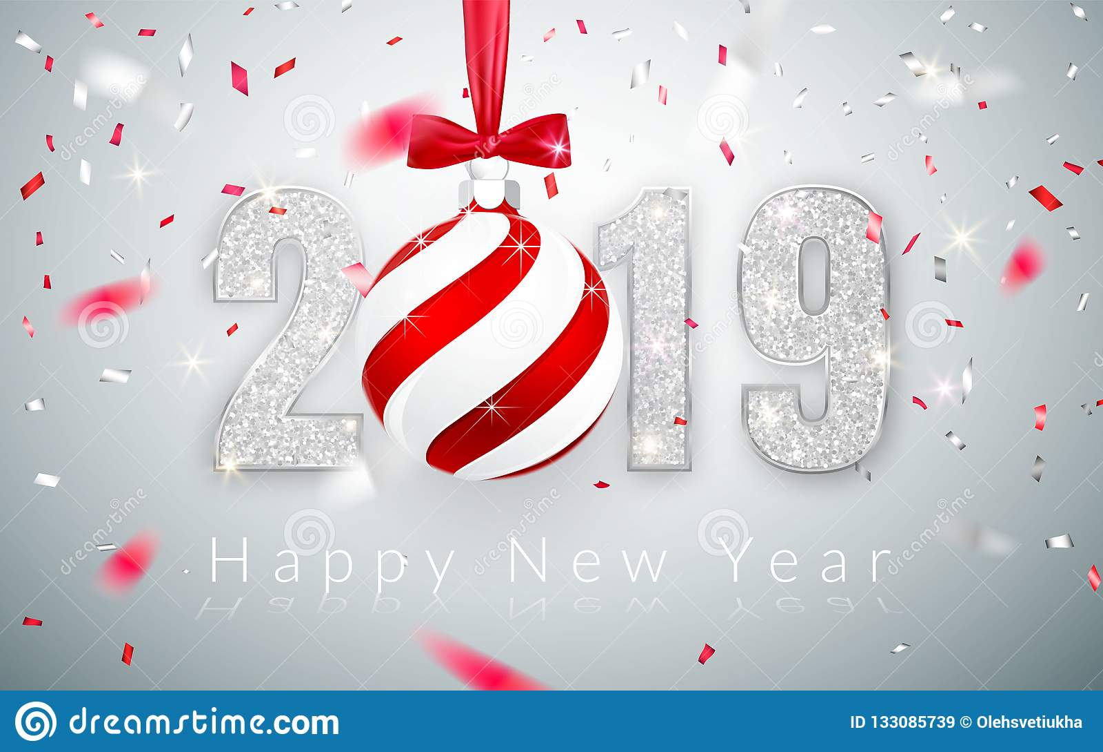 新年快乐2019年,贺卡,落的发光的五彩纸屑,与红色弓,传染媒介例证的Xmas球银色数字设计