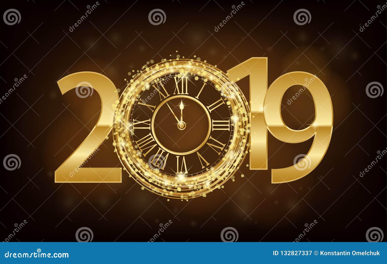 新年快乐2019年-与金子时钟和闪烁的新年发光的背景