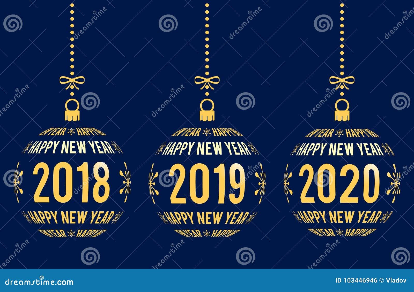 新年快乐2018年2019年, 2020设计元素