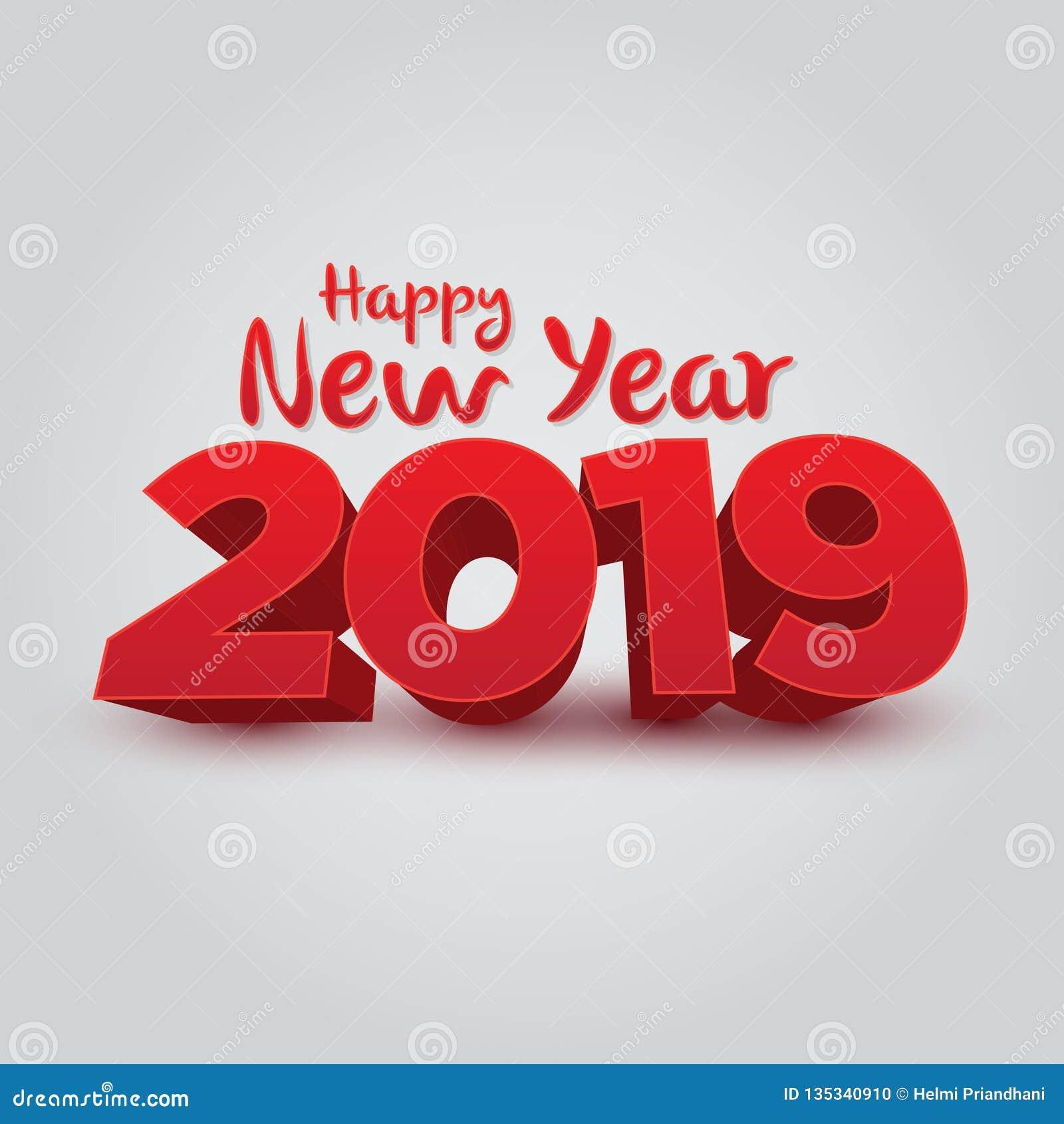 新年快乐2019年- 3D传染媒介