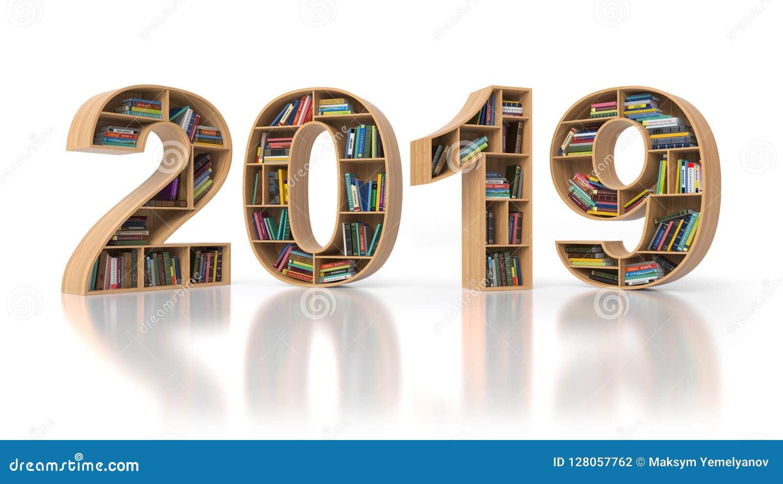 2019新年教育概念 与书的Bookshelvs在fo