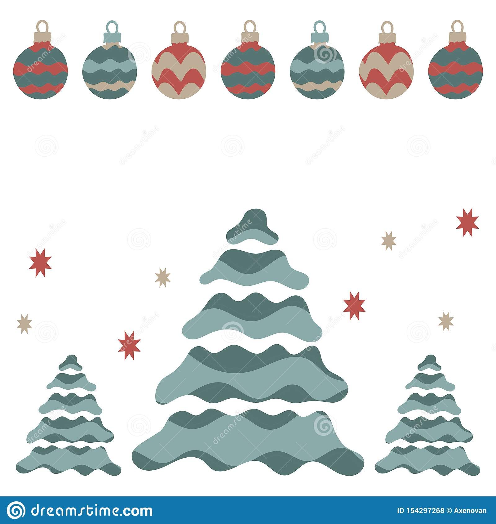新年海报或明信片,新年快乐 圣诞树,诗歌选,圣诞节球