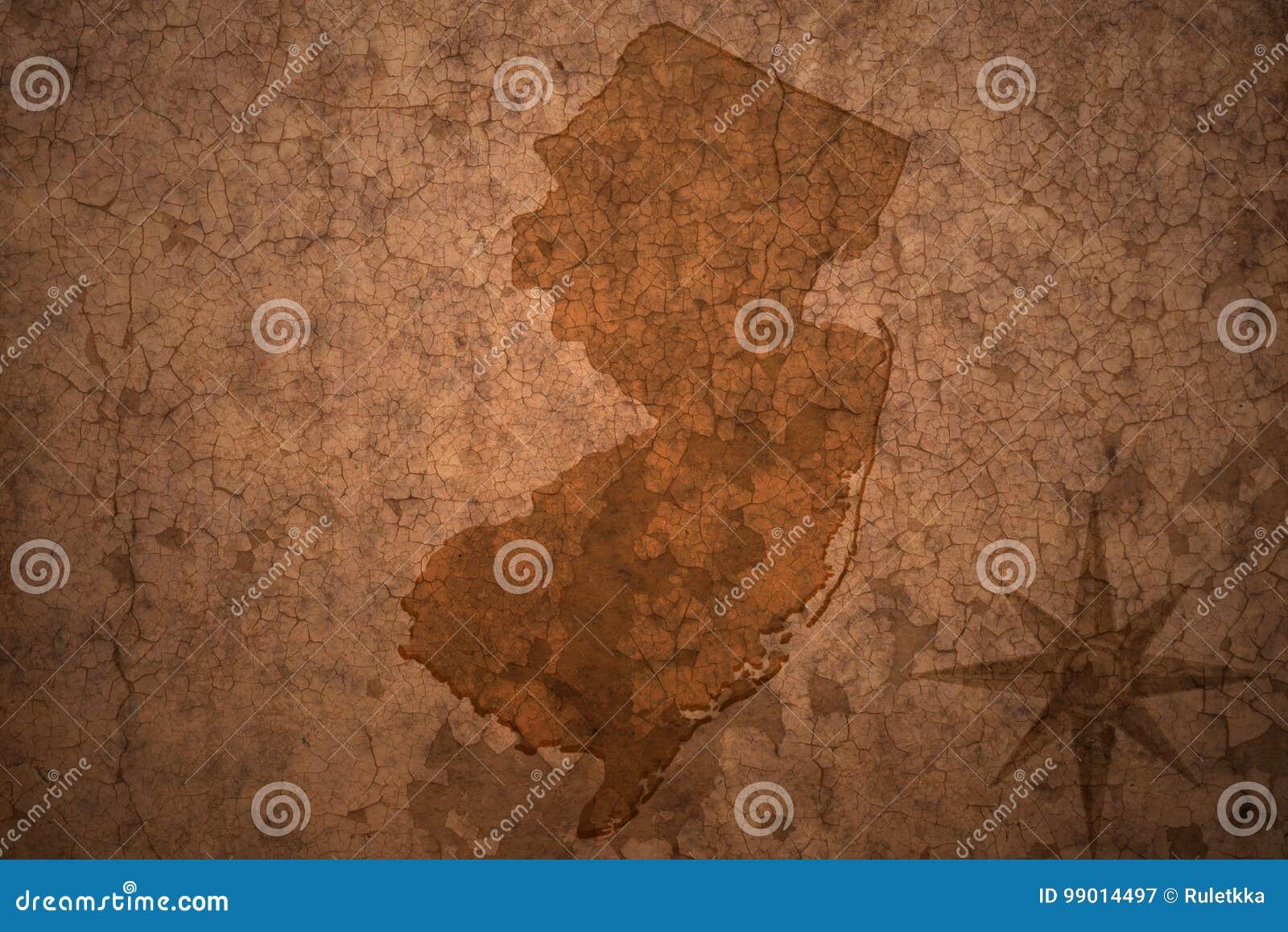 新泽西在老葡萄酒纸背景的状态地图