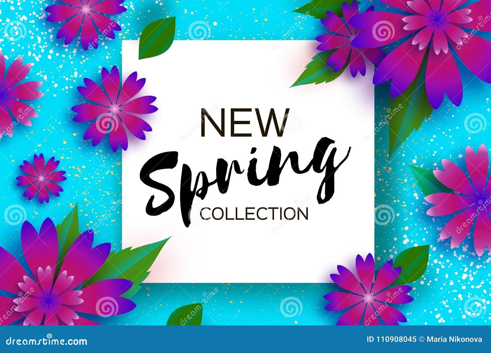 新的春天收藏 纸刻花 3月8日 妇女天贺卡 Origami百花香 方形框架 文本