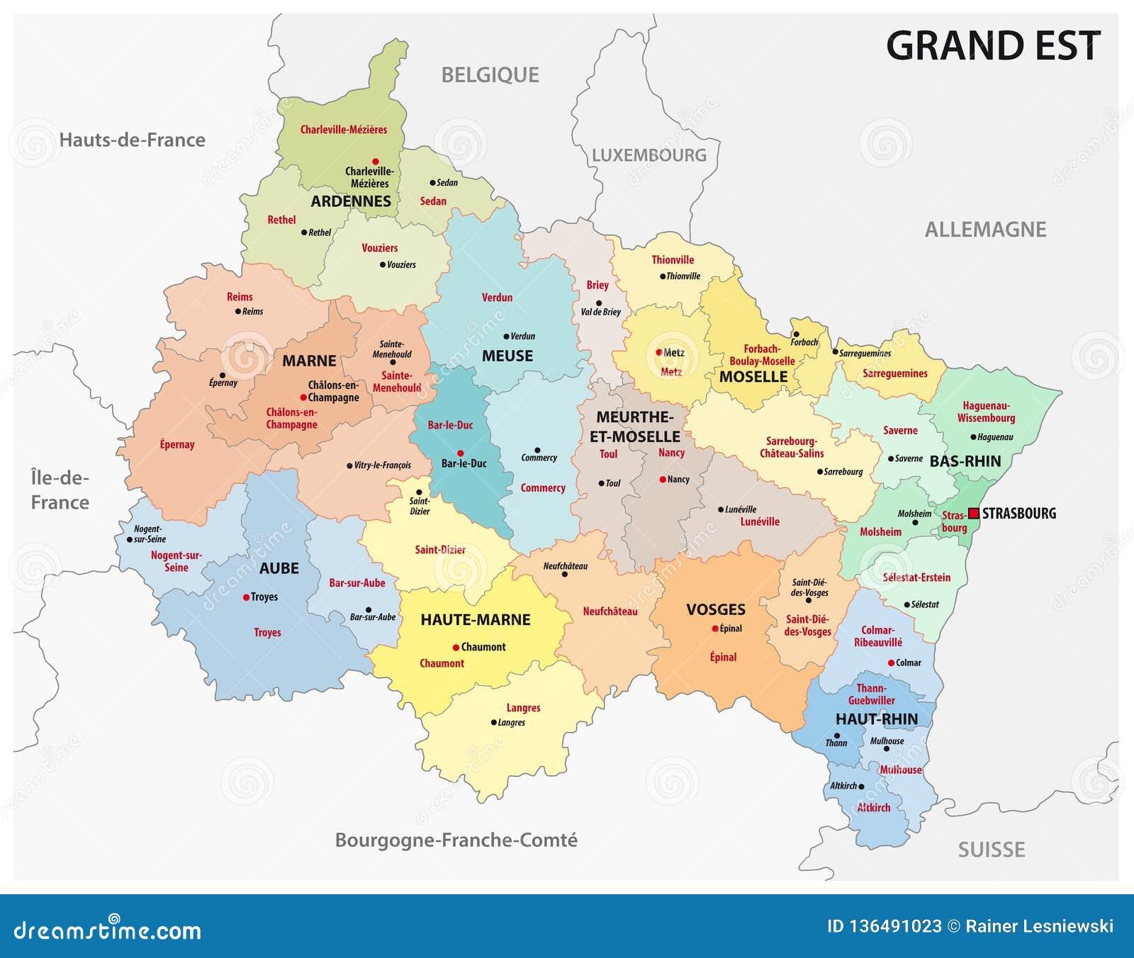 新的法国地区盛大est的后勤情况图