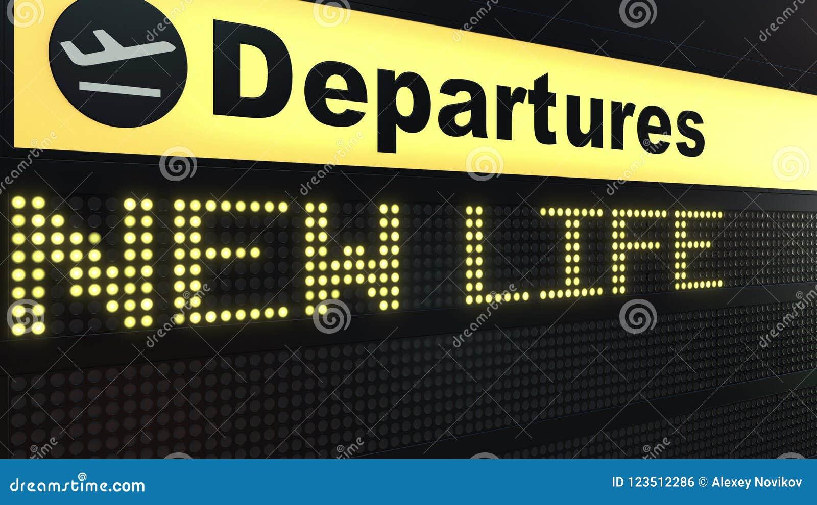 新的生活措辞出现在机场离开委员会 3d翻译
