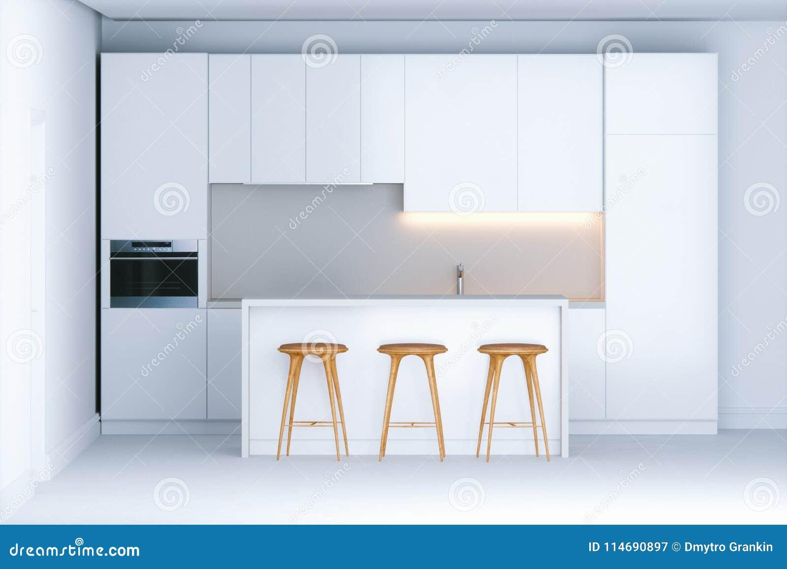 新的白色内部的当代minimalistic厨房