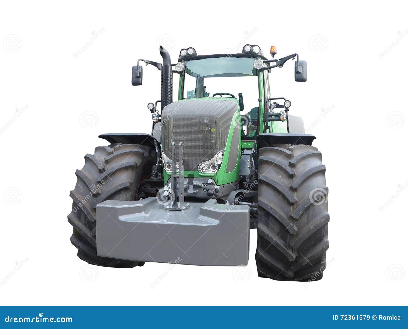 新的绿色强有力的拖拉机被隔绝在白色