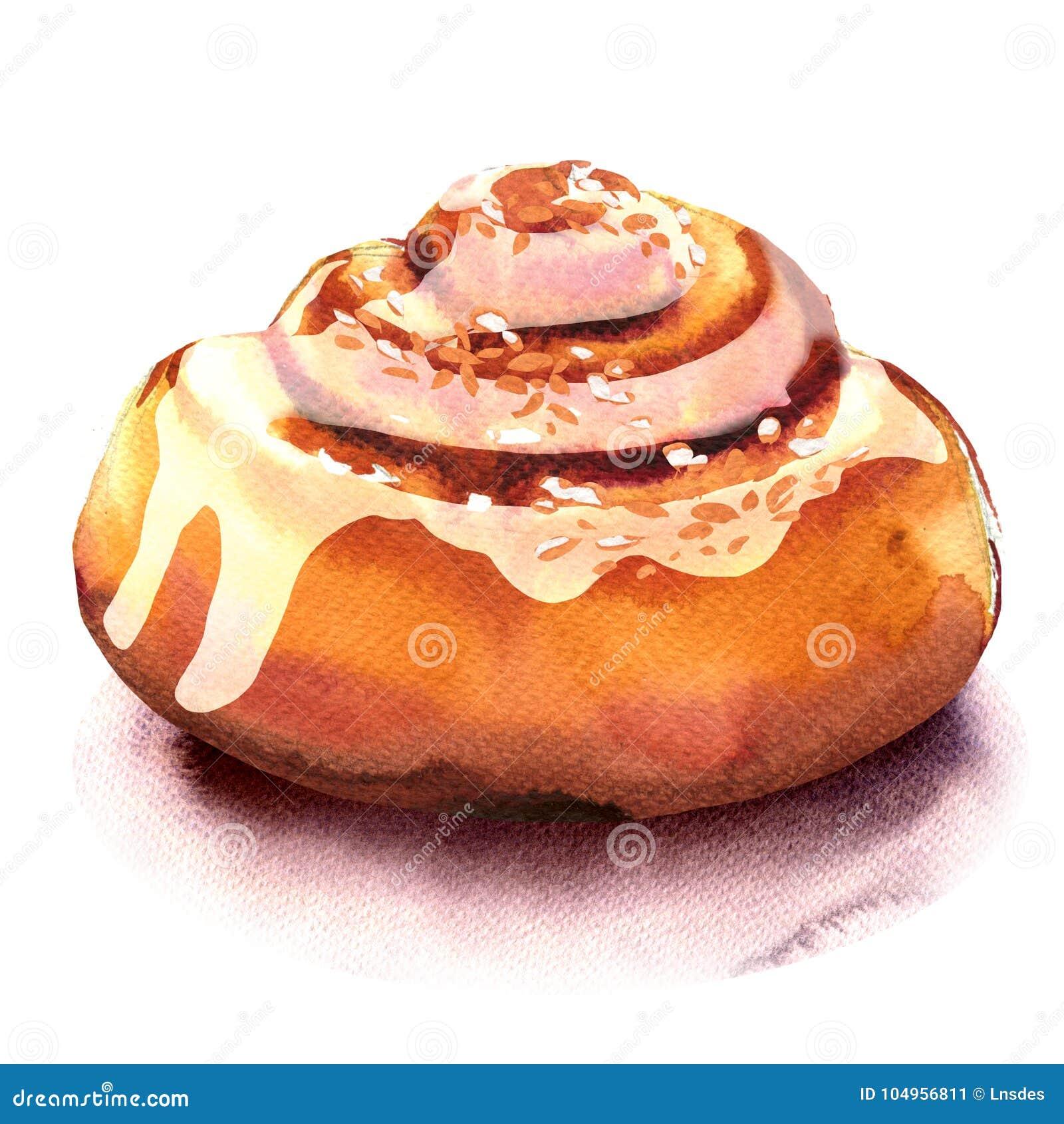 新自创桂皮卷,甜小圆面包,被隔绝的点心,在白色的水彩例证