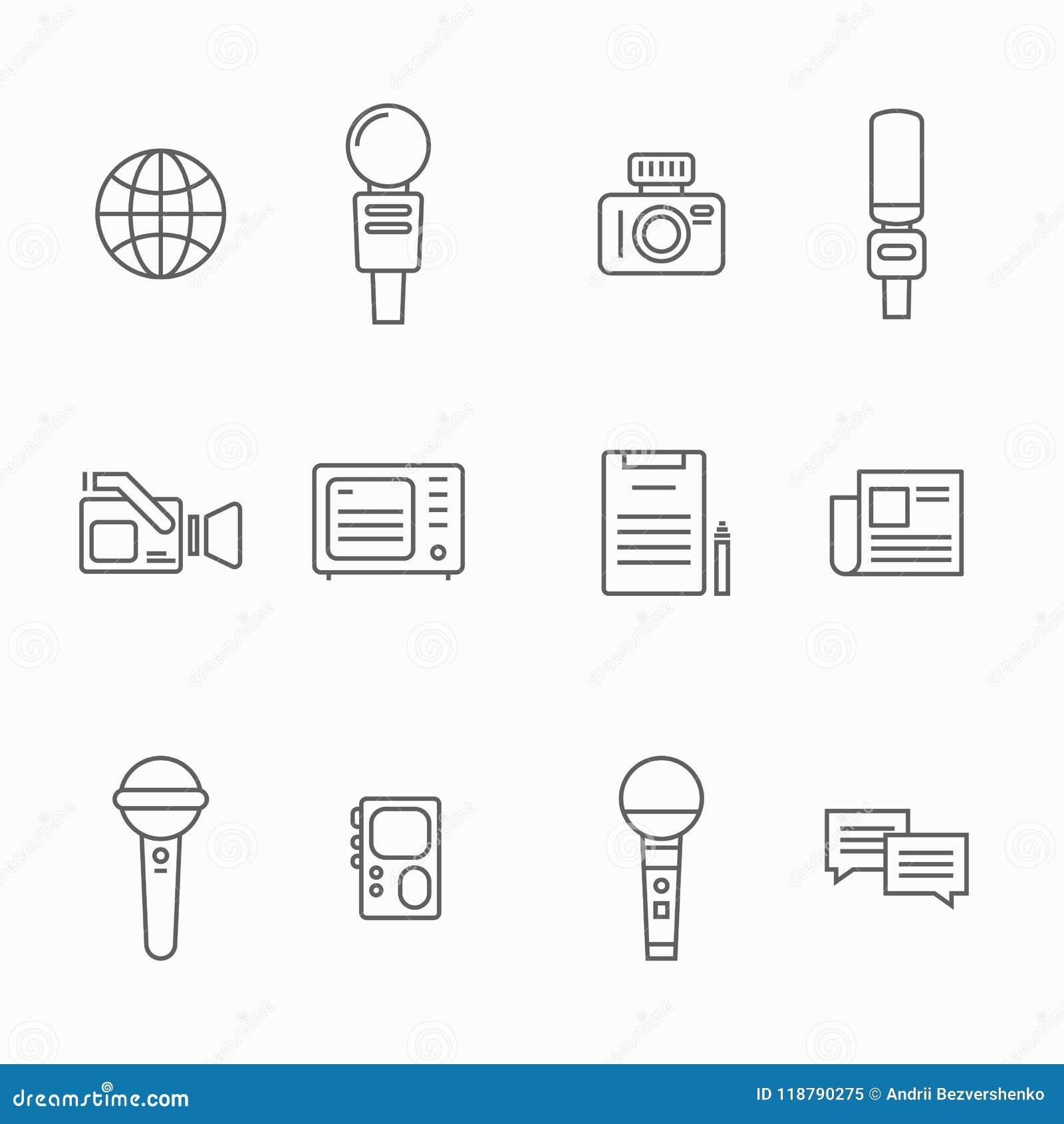 新闻工作者传染媒介线象 新闻采访者属性作为话筒,照相机,录音电话机使用为采访