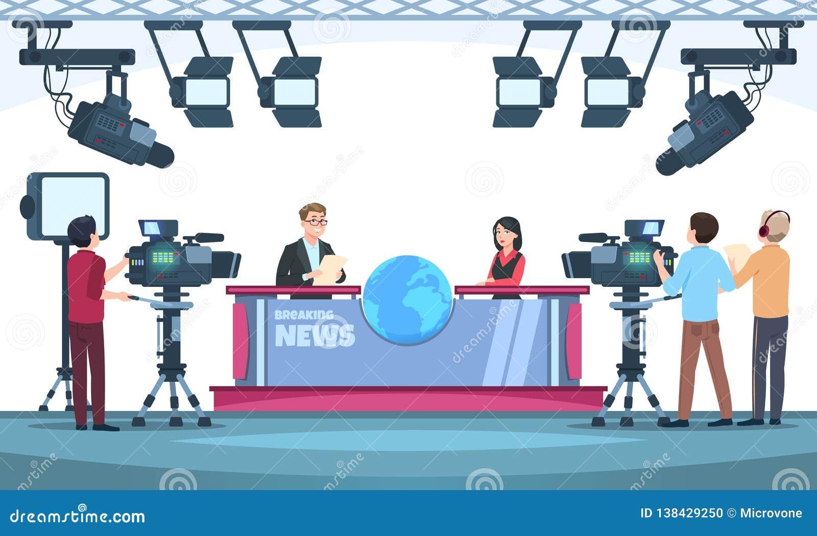 新闻电视剧演播室 播放与在电视上的摄影师的赠送者 人们谈话与照相机在演播室 向量