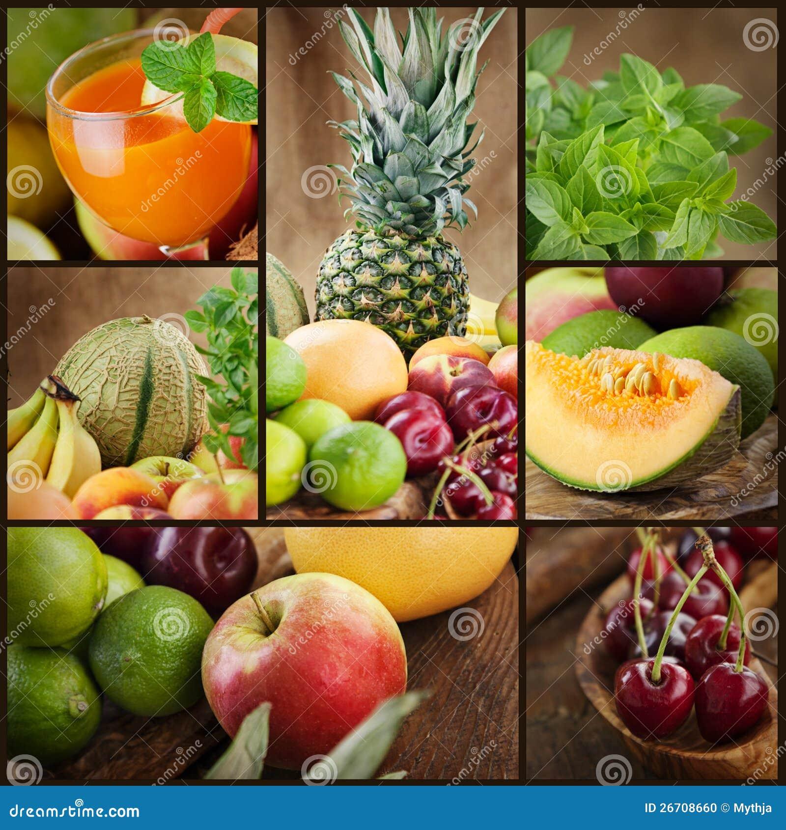 新鲜水果和汁液拼贴画