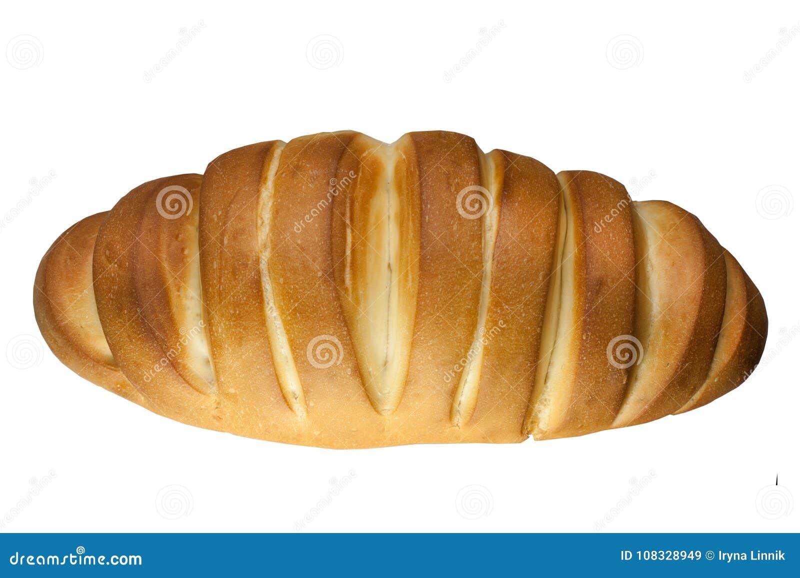 新鲜的可口大面包,在白色背景隔绝的面包 顶视图