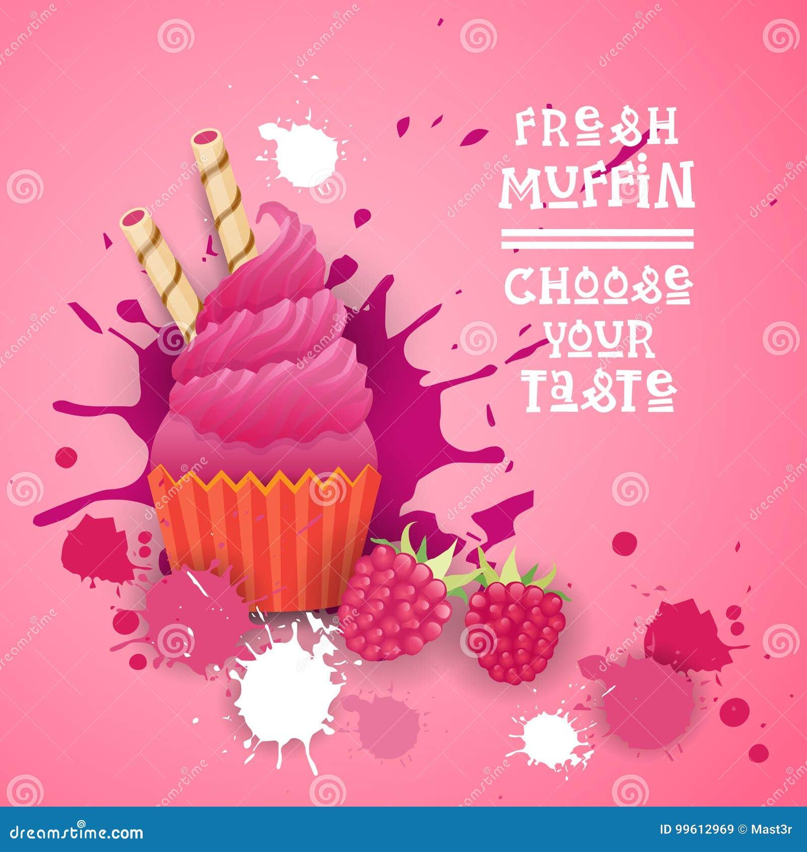 新鲜的松饼选择您的口味商标蛋糕甜美丽的杯形蛋糕点心可口食物