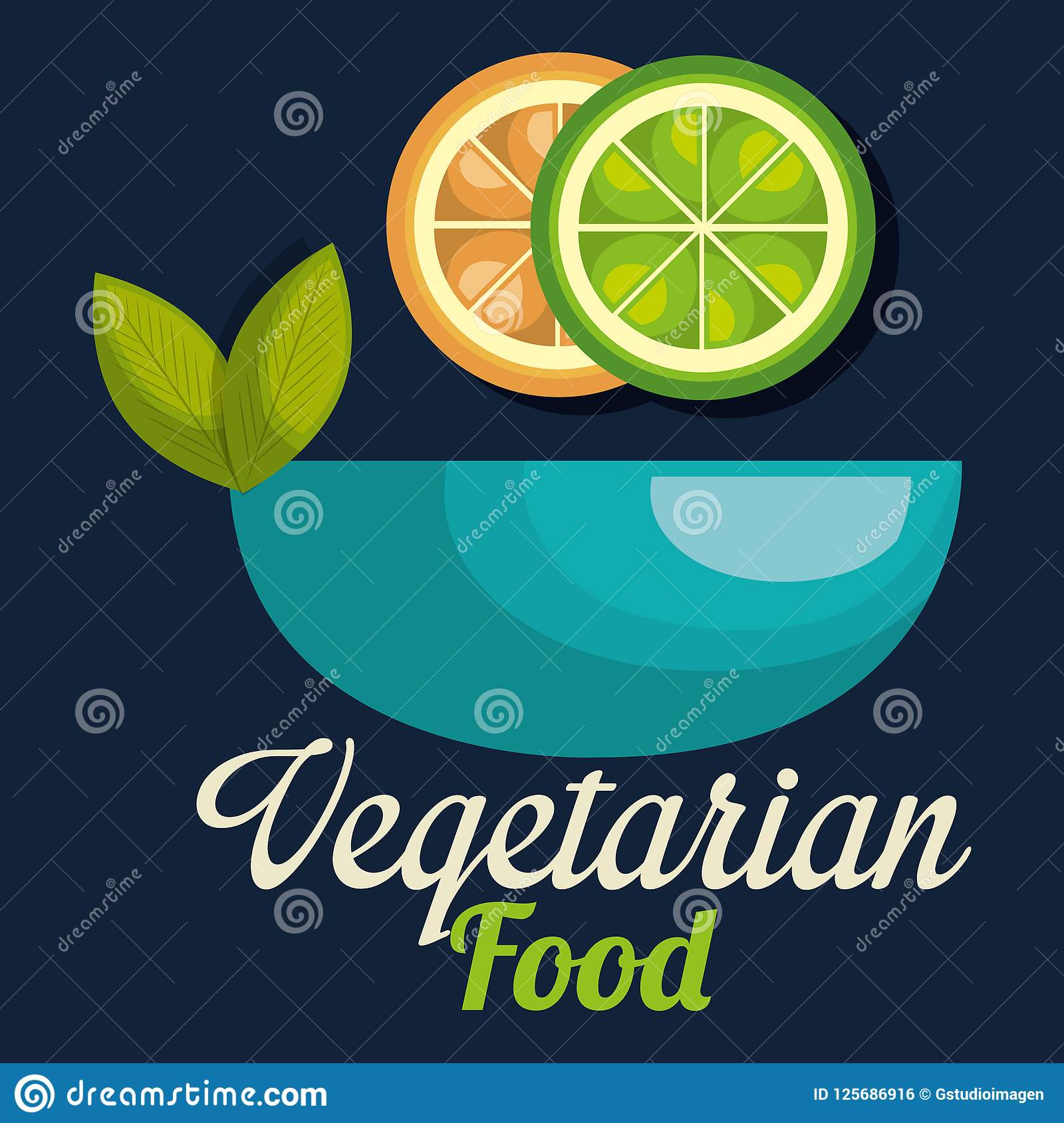 新鲜的柠檬和桔子在碗素食主义者食物
