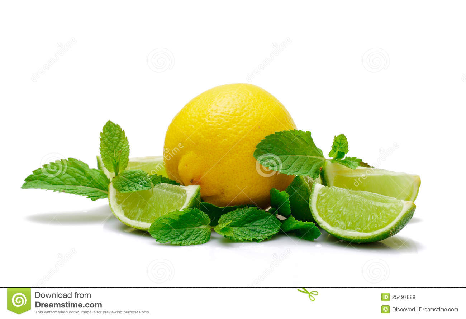 新鲜的柠檬石灰薄菏