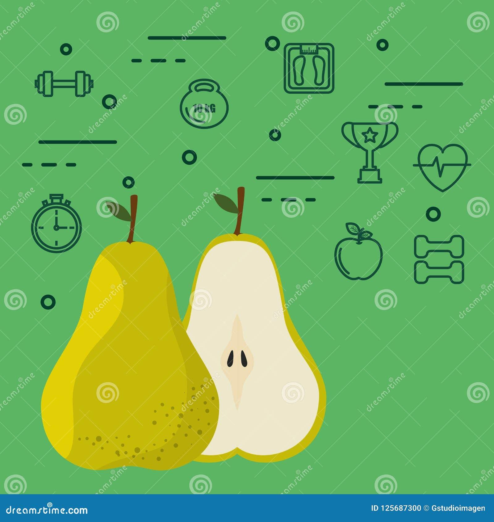 新鲜的梨素食主义者食物