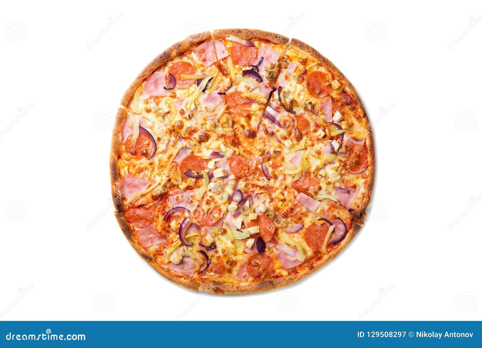 新鲜的鲜美比萨用蕃茄、意大利辣味香肠、在白色背景和蘑菇隔绝的乳酪、香肠 顶视图