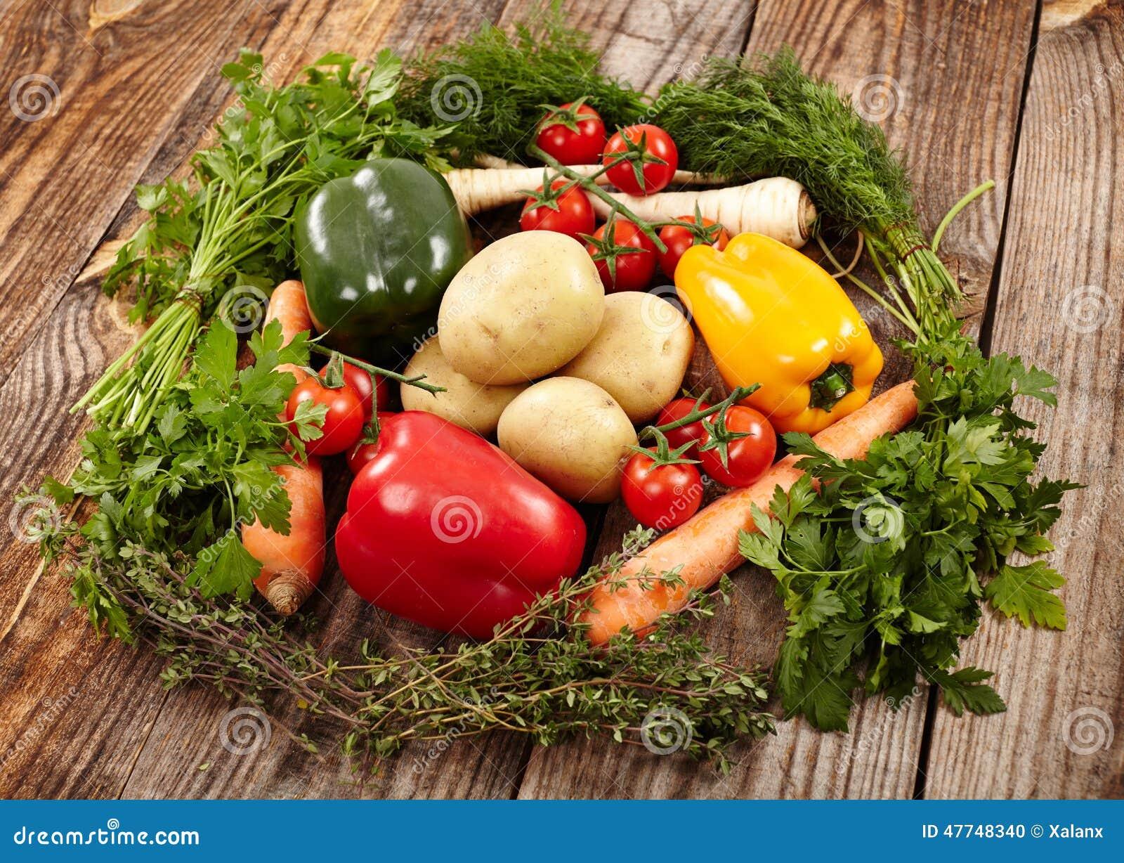 与巢的有机饮食概念草本围拢的由新鲜蔬菜做成.