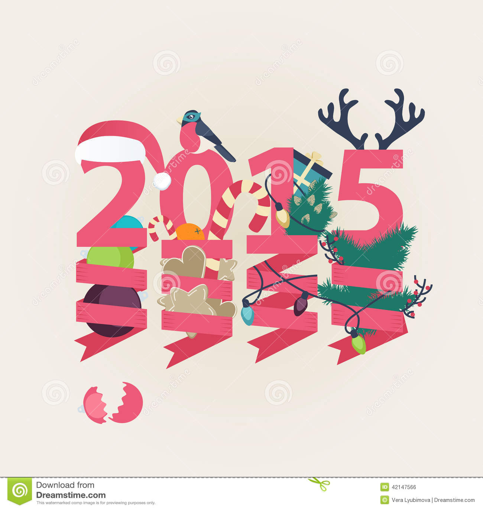向量例证: 2015新年卡片传染媒介设计