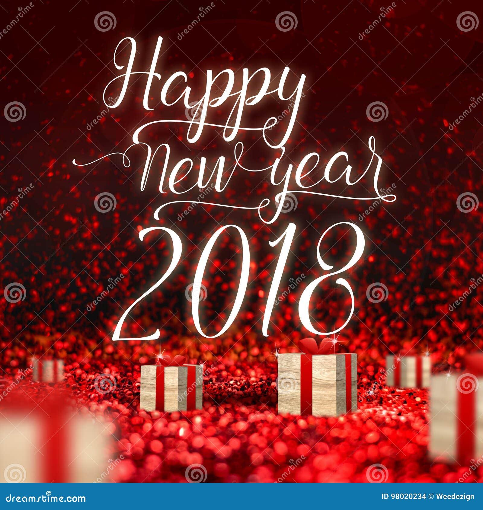 新年快乐2018年贺卡和木头当前箱子在红色sp