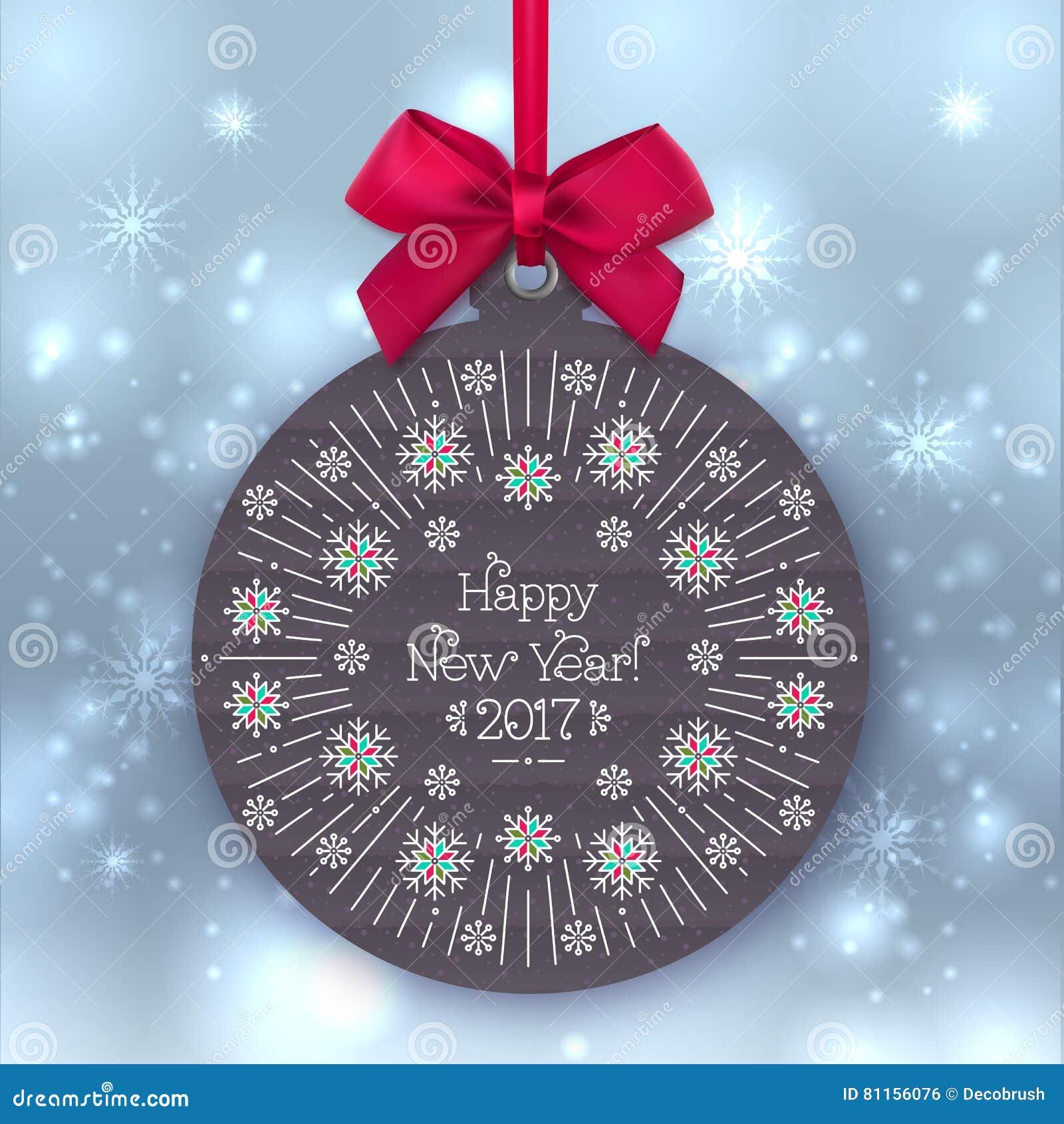 新年快乐2017年横幅,圣诞节球,招呼标签