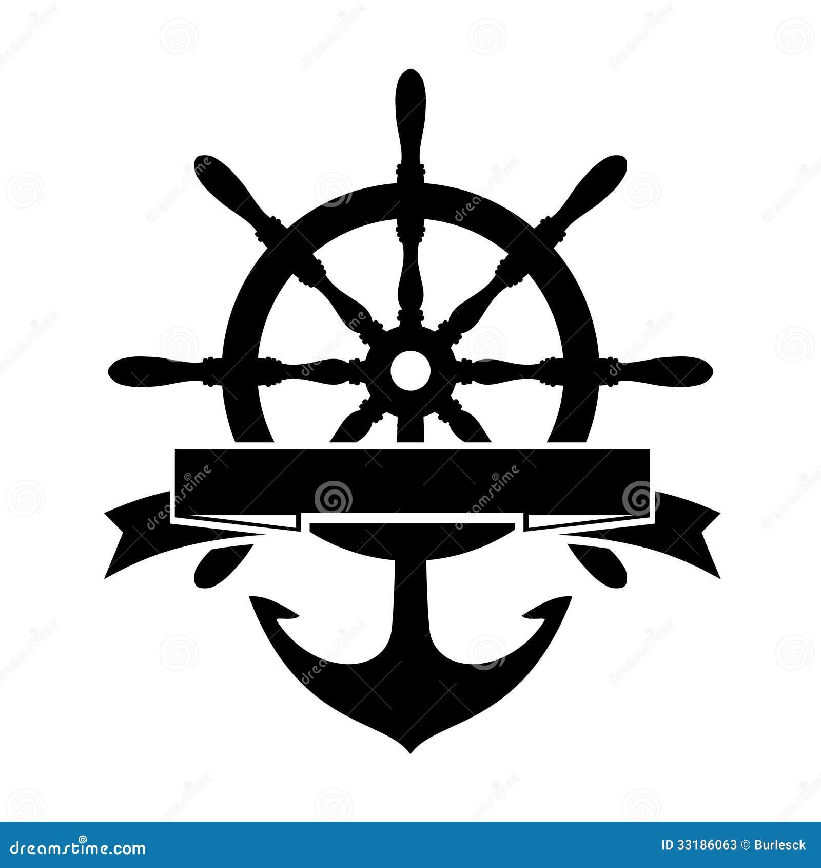 与方向盘和船锚的标签在白色背景.图片